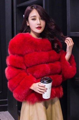 Women's Daily/Party Long Faux Fur Coat | Solid White/Pink/Ruby/Burgundy Colored Round Neck Long Sleeve Faux Fur Overcoat_25