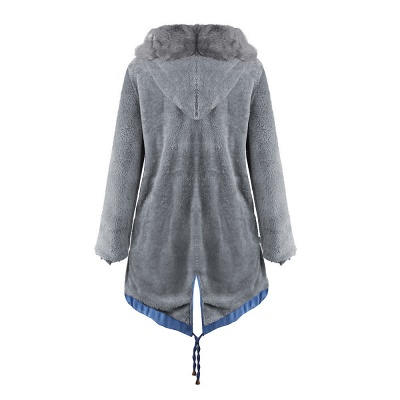 Midnight Blue Hooded Long-length Faux Fur Coat | Women's Solid Color Winter/Fall Jacket_32