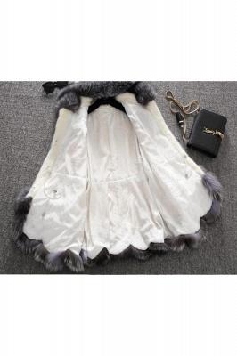 Abrigo con capucha de media longitud negro / blanco de piel sintética | Chaqueta de piel sintética con cuello chal artificial islandés_17