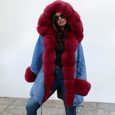 Midnight Blue Hooded Long-length Faux Fur Coat | Women's Solid Color Winter/Fall Jacket_1