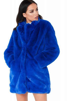 Daily Regular Stand Long Faux Fur Coat| Solid Colored Long Sleeve Faux Fur Yellow / Blue / Fuchsia_29