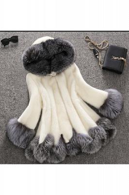 Abrigo con capucha de media longitud negro / blanco de piel sintética | Chaqueta de piel sintética con cuello chal artificial islandés_2