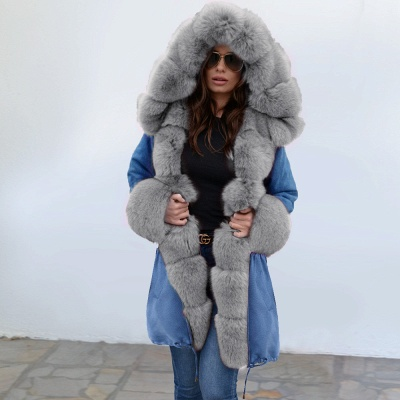 Midnight Blue Hooded Long-length Faux Fur Coat | Women's Solid Color Winter/Fall Jacket_11