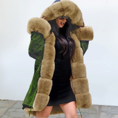 Army Green Faux Fur-trimmed long-length Coat | Classic Solid Color Winter/Fall Jacket_4