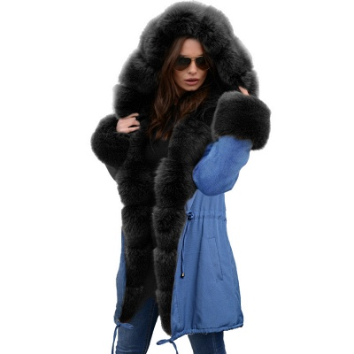 Midnight Blue Hooded Long-length Faux Fur Coat | Women's Solid Color Winter/Fall Jacket_27