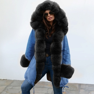 Midnight Blue Hooded Long-length Faux Fur Coat | Women's Solid Color Winter/Fall Jacket_8