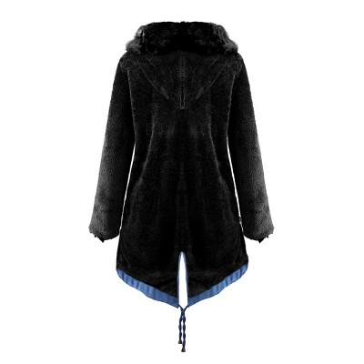 Midnight Blue Hooded Long-length Faux Fur Coat | Women's Solid Color Winter/Fall Jacket_38