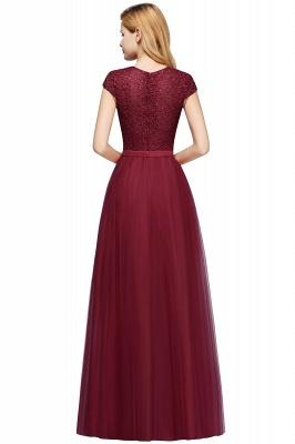 Elegant Lace Top Cap Sleeves Long Tulle Bridesmaid Dresses_13