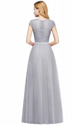 Elegant Lace Top Cap Sleeves Long Tulle Bridesmaid Dresses_23