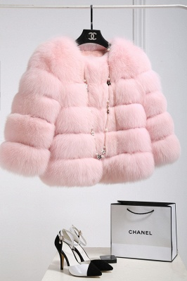 Women's Daily/Party Long Faux Fur Coat | Solid White/Pink/Ruby/Burgundy Colored Round Neck Long Sleeve Faux Fur Overcoat_38