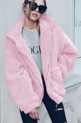 Daily Basic Winter Plus Size Regular Faux Fur Coat| Solid Colored Shirt Collar Long Sleeve Faux Fur Black/Pink/Ivory_10