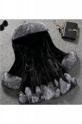 Abrigo con capucha de media longitud negro / blanco de piel sintética | Chaqueta de piel sintética con cuello chal artificial islandés_3