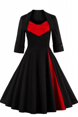 1/2 Sleeve Bow Tie Two Toned Vintage Dress with Pleats clearance sale & free shipping_3