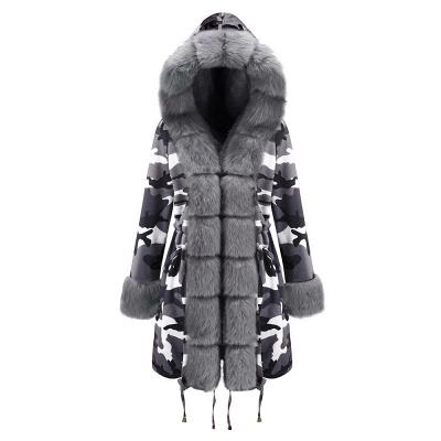 Chaqueta Fashionista de piel sintética con capucha y camuflaje para mujer | Abrigo largo medio en cuello de chal burdeos / negro / gris_26