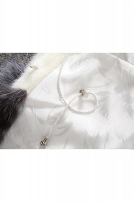 Abrigo con capucha de media longitud negro / blanco de piel sintética | Chaqueta de piel sintética con cuello chal artificial islandés_21