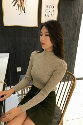 Fitted Top in a fine-knit viscose blend   Long Sleeves Round Neckline Sweater_25