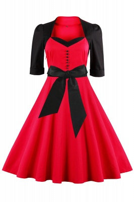 Half Sleeve A Line Vintage Dress with Self-tie Bow | Clearance sale and free shipping_1