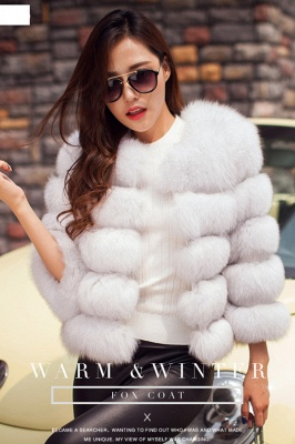 Women's Daily/Party Long Faux Fur Coat | Solid White/Pink/Ruby/Burgundy Colored Round Neck Long Sleeve Faux Fur Overcoat_15