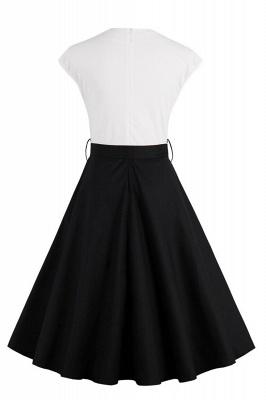 Vestido blanco y negro con cuello redondo y manga esencial de cuello redondo_3