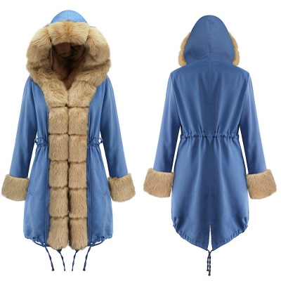 Midnight Blue Hooded Long-length Faux Fur Coat | Women's Solid Color Winter/Fall Jacket_19