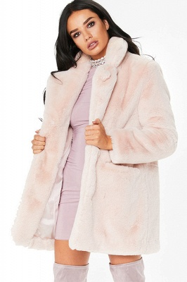 Daily Regular Stand Long Faux Fur Coat| Solid Colored Long Sleeve Faux Fur Yellow / Blue / Fuchsia_3