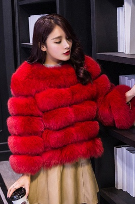 Women's Daily/Party Long Faux Fur Coat | Solid White/Pink/Ruby/Burgundy Colored Round Neck Long Sleeve Faux Fur Overcoat_24