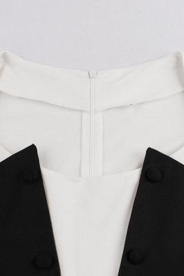 Vestido blanco y negro con cuello redondo y manga esencial de cuello redondo_4
