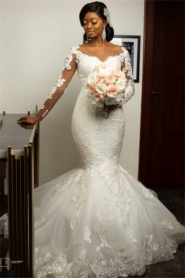 Mermaid Lace Appliques Wedding Dresses with Sleeves | Sexy Cheap Plus Size Wedding Gowns Onine_1