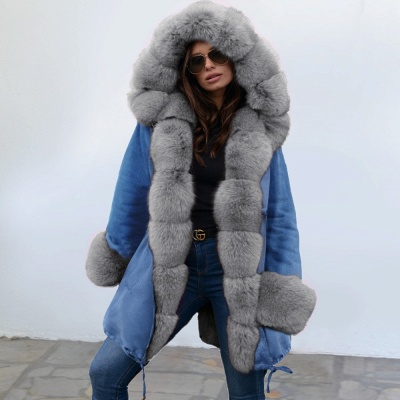 Midnight Blue Hooded Long-length Faux Fur Coat | Women's Solid Color Winter/Fall Jacket_13