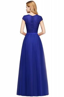 Elegant Lace Top Cap Sleeves Long Tulle Bridesmaid Dresses_19