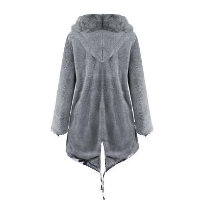 Chaqueta Fashionista de piel sintética con capucha y camuflaje para mujer | Abrigo largo medio en cuello de chal burdeos / negro / gris_36