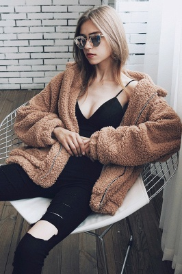 Going out Basic Regular Faux Fur Coat| Solid Colored Stand Long Sleeve Faux Fur White / Brown / Black_20