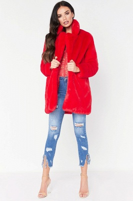 Daily Regular Stand Long Faux Fur Coat| Solid Colored Long Sleeve Faux Fur Yellow / Blue / Fuchsia_4