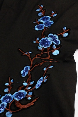 1/2 Sleeve Black Dress with Embroidered Flowers | Clearance sale and free shipping_23