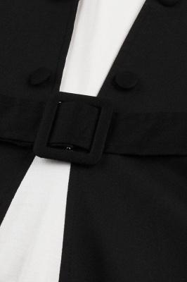 Vestido blanco y negro con cuello redondo y manga esencial de cuello redondo_7