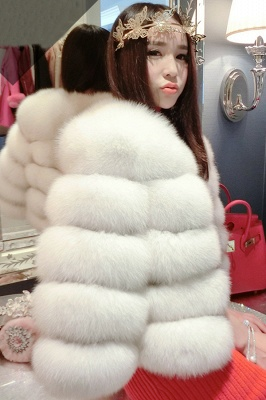 Women's Daily/Party Long Faux Fur Coat | Solid White/Pink/Ruby/Burgundy Colored Round Neck Long Sleeve Faux Fur Overcoat_1