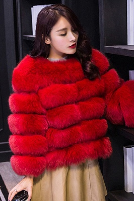 Women's Daily/Party Long Faux Fur Coat | Solid White/Pink/Ruby/Burgundy Colored Round Neck Long Sleeve Faux Fur Overcoat_41