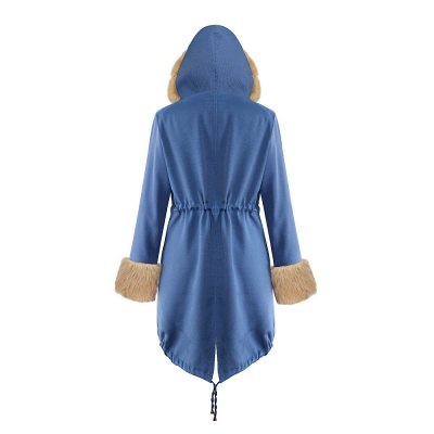 Midnight Blue Hooded Long-length Faux Fur Coat | Women's Solid Color Winter/Fall Jacket_42