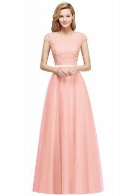 Elegant Lace Top Cap Sleeves Long Tulle Bridesmaid Dresses_1