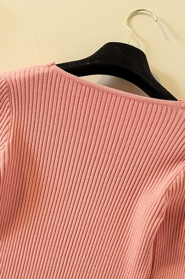 Soft V-neck fitted knit sweater with dropped shoulders with ribbing at cuffs and hem_21