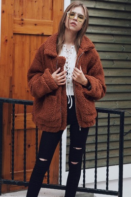 Going out Basic Regular Faux Fur Coat| Solid Colored Stand Long Sleeve Faux Fur White / Brown / Black_32