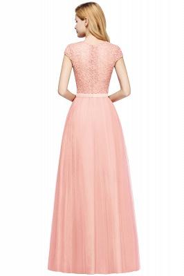 Elegant Lace Top Cap Sleeves Long Tulle Bridesmaid Dresses_14