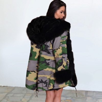 Electric Army Green Faux Fur Chubby Jacket | Superstar Faux Fur Coat in Burgundy/Black/Gray Shawl Collar_9