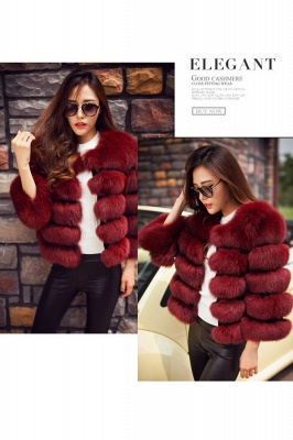 Women's Daily/Party Long Faux Fur Coat | Solid White/Pink/Ruby/Burgundy Colored Round Neck Long Sleeve Faux Fur Overcoat_29