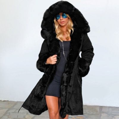Black Faux Fur-trimmed Long-length Overcoat | Warm Hooded Fur Coat in Burgundy/Black/Gray Shawl Collar_8