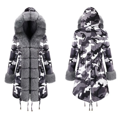 Women's Hooded Camouflage Faux Fur Fashionista Jacket | Mid-length Overcoat in Burgundy/Black/Gray Shawl Collar_16