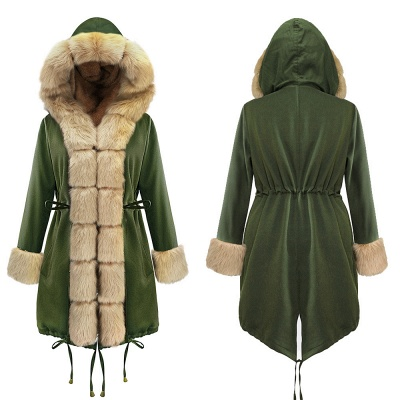 Army Green Faux Fur-trimmed long-length Coat | Classic Solid Color Winter/Fall Jacket_18
