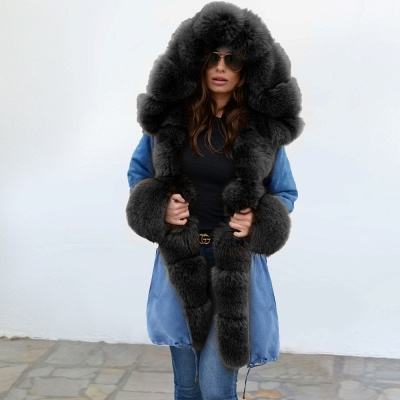 Midnight Blue Hooded Long-length Faux Fur Coat | Women's Solid Color Winter/Fall Jacket_10