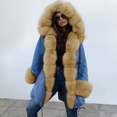 Midnight Blue Hooded Long-length Faux Fur Coat | Women's Solid Color Winter/Fall Jacket_15