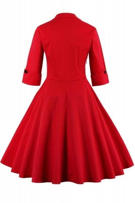 1/2 Sleeve Bow Tie Two Toned Vintage Dress with Pleats clearance sale & free shipping_9